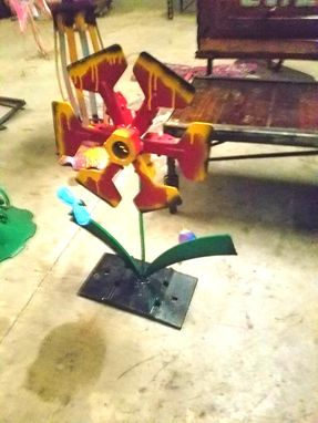 Custom Made Metalwork Flower Outdoor Garden Sculpture By Raymond Guest
