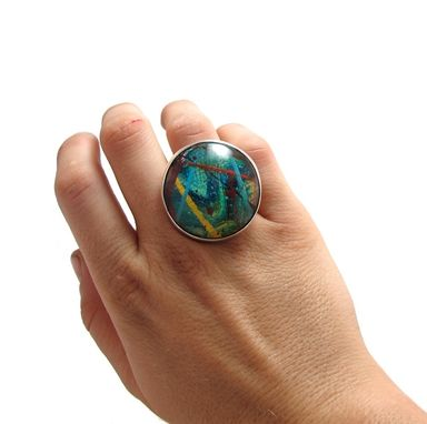 Custom Made Contemporary Ring - Green Blue Ring - Resin And Sterling Ring - Large Ring Women - Size 5 Ring