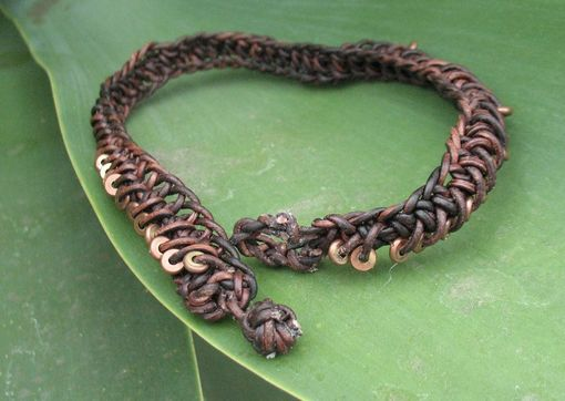 Custom Made Jewelry: Brown Leather Braided Choker With Copper Beads
