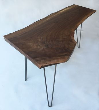 Custom Made Mid Century Modern Natural Live Edge Side Table With Hairpin Legs - Solid Walnut End Table