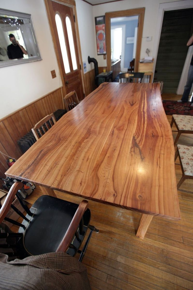 Custom Made Live Edge Cherry Kitchen Table by Wooden Hammer ...