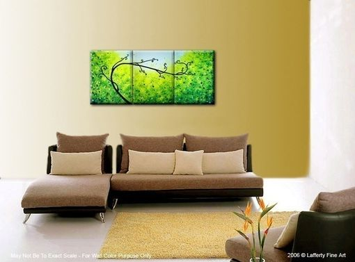 Custom Made Abstract Green Tree, Original Palette Knife Landscape Painting By Dan Lafferty - 24 X 54