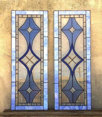 Custom Made Stained Glass Cabinet Inserts - Bevels And Blues  (Ci-5)