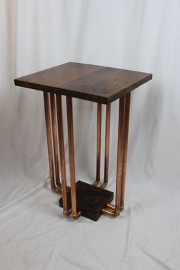 Custom Made 8-Pipe Walnut And Copper End Table