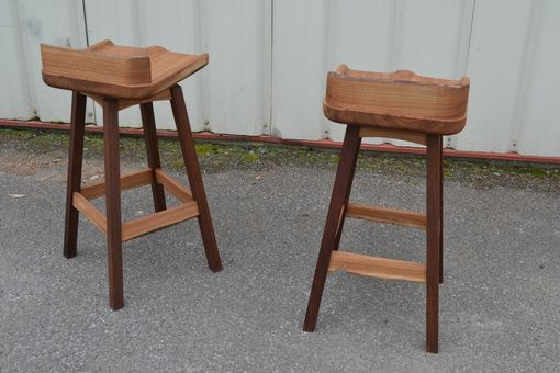 Custom Made Two Live Edge Elm And Walnut Bar Stool With Swivel Seat