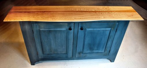 Custom Made Blue Media Cabinet