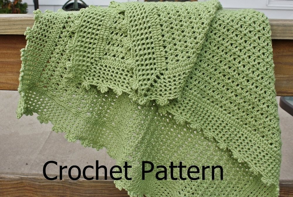 Hand Crafted Crochet Baby Blanket Pattern Lightweight Lacy Shell