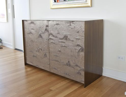 Custom Made Antique Brass Credenza W/ Bronze Birch Bark Doors, Ultra Suede Drawers, Metallic Bronze Lacquer Interior.
