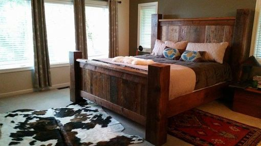 Custom Made Rustic Reclaimed Barnwood Bed