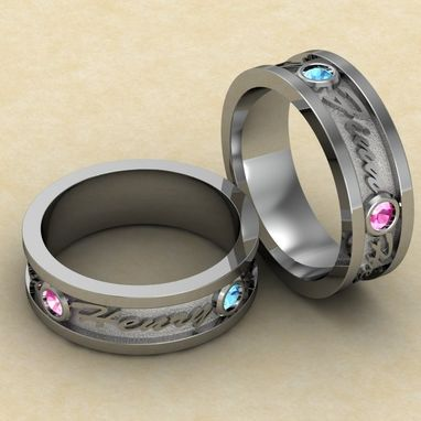 Custom Made Matching Rings With Name Engravings