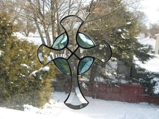 Custom Made Beveled Stained Glass Celtic Cross In Turquoise