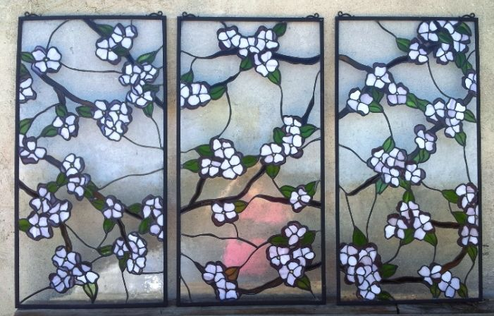 Custom Made Stained Gl 3 Hanging Panel Set Dogwood Branches P