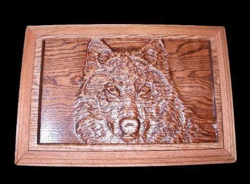 "Custom Made 3d Wall Art ""Wolf Carving"""