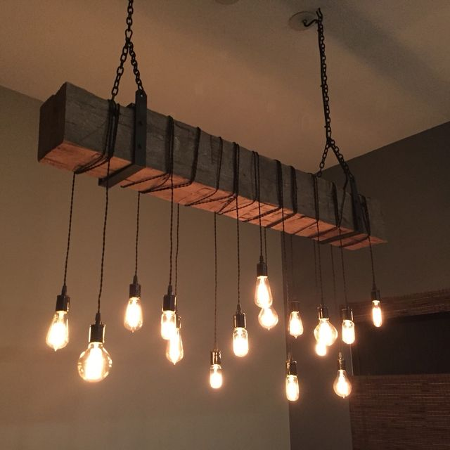 Buy a Custom Reclaimed Barn Beam Chandelier Light Fixture. Modern ...