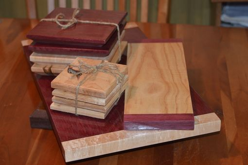 Custom Made Lazy Susan Serving Set ~ Bird's Eye Maple & Purpleheart