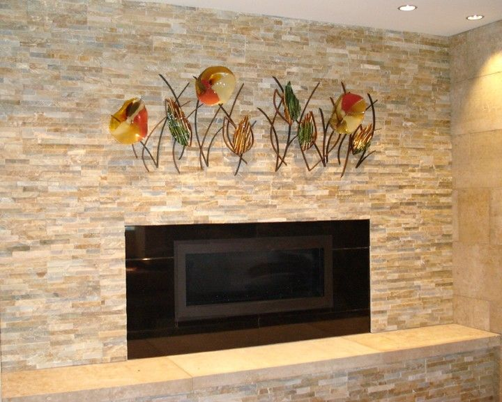 Hand Made Blown Glass Fused Glass And Metal Wall Art By
