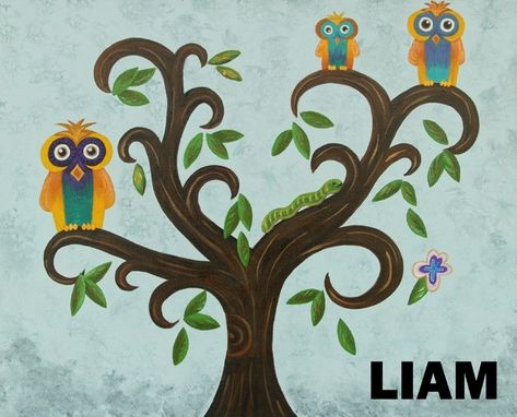 Custom Made Personalized Art Owl Nursery / Kids Wall Art. Owl Themed Nursery. Painting Not A Print.