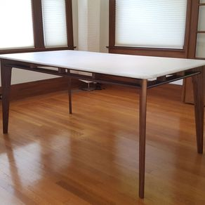 mid century modern dining table. ariana walnut mid century modern table base for marble or stone top by mark palmquist dining l