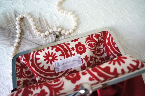 Custom Made Red Wedding Clutch Purse With Pleats And Ruffles