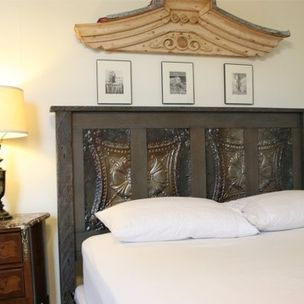 Gray Toned Queen Bed Made Reclaimed New Orleans Houses And Ceiling Tin By