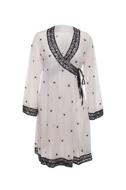 Custom Made Embroidered Cotton Silk Wrap Dress