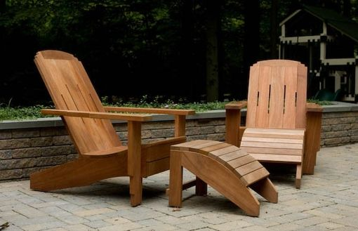Custom Made Craftsman-Style Adirondack Chair & Ottoman Of Mahogany