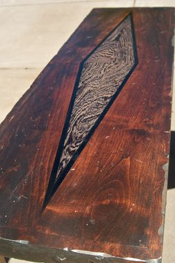Custom Made Rustic Table With Exotic Wood Inlay