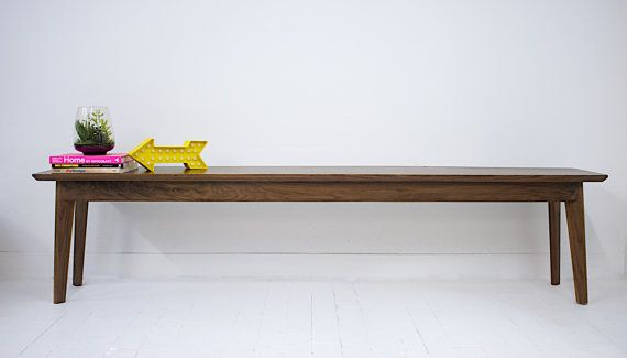Custom Made Mid Century Modern Inspired Walnut Bench Dining Table The Santa Monica