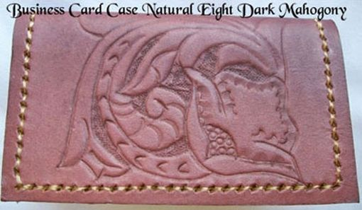 Custom Made Custom Leather Business Card Case With The Natural 8 Design And In Dark Mahogany Color