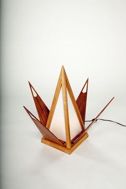Custom Made Mahogany Lotus Desk Lamp