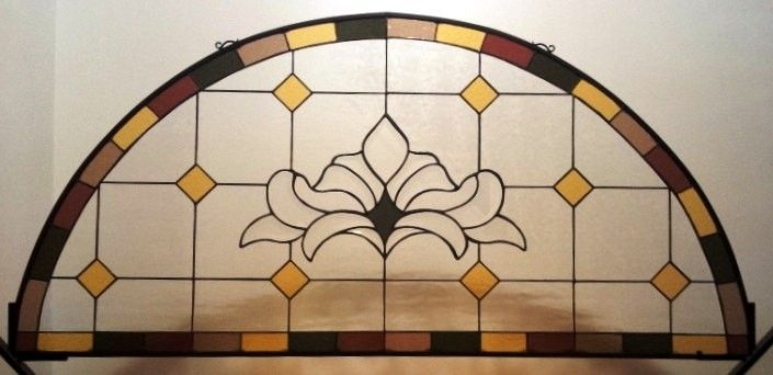 custom made stained glass window hanging panel refined arch p