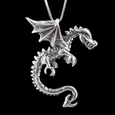 Custom Made Silver Spike Dragon Pendant