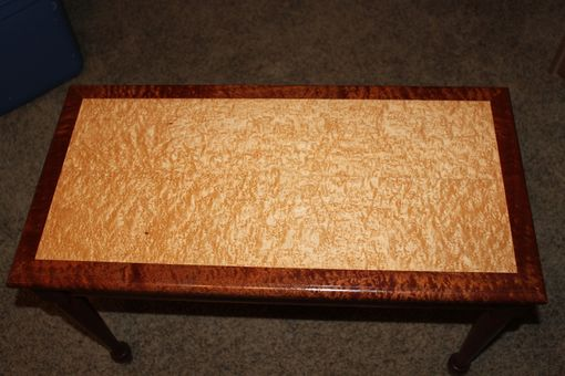Custom Made Sapele And Birdseye Maple Piano Bench