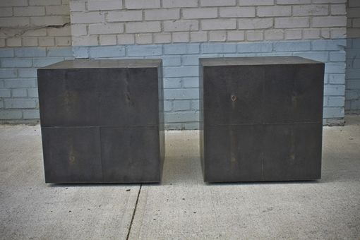 Custom Made Dark Silver Bronze Shagreen Side Tables