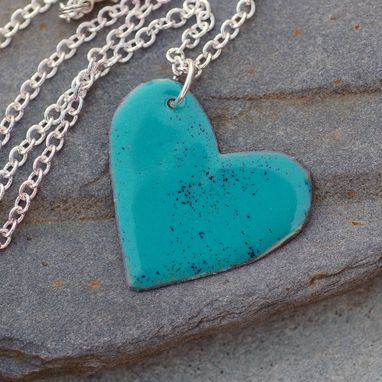 Custom Made Enamel Heart Pendant Necklace Copper Enameled Jewelry Turquoise