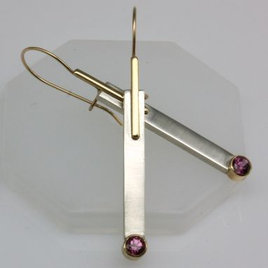 Custom Made Silver And 14k Gold Pink-Rose Garnet Earrings