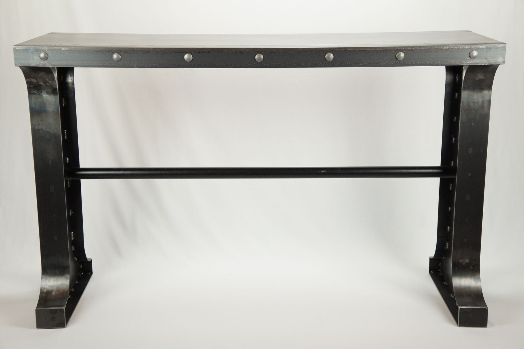 Buy a custom made industrial metal console table to