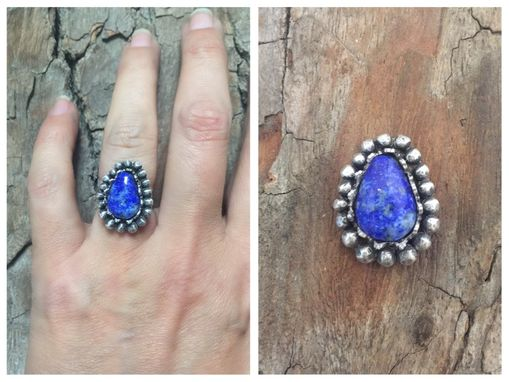Custom Made Sterling Silver - Lapis Flower Ring Or Pendant
