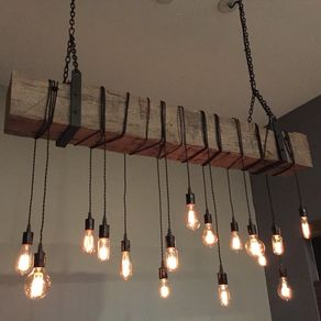 Reclaimed Barn Beam Chandelier Light Fixture Modern Rustic Restaurant Bar Lighting By