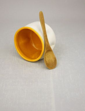 Custom Made Stoneware Salt Cellar In Clementine Orange And Farmhouse White