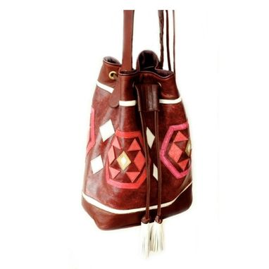 Custom Made Mochila Yuu / Leather And Handpainted Crossbody Handbag In A Traditional Colombian Style
