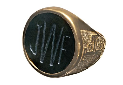 Custom Made Initials Ring Hand Engraved Black Onyx