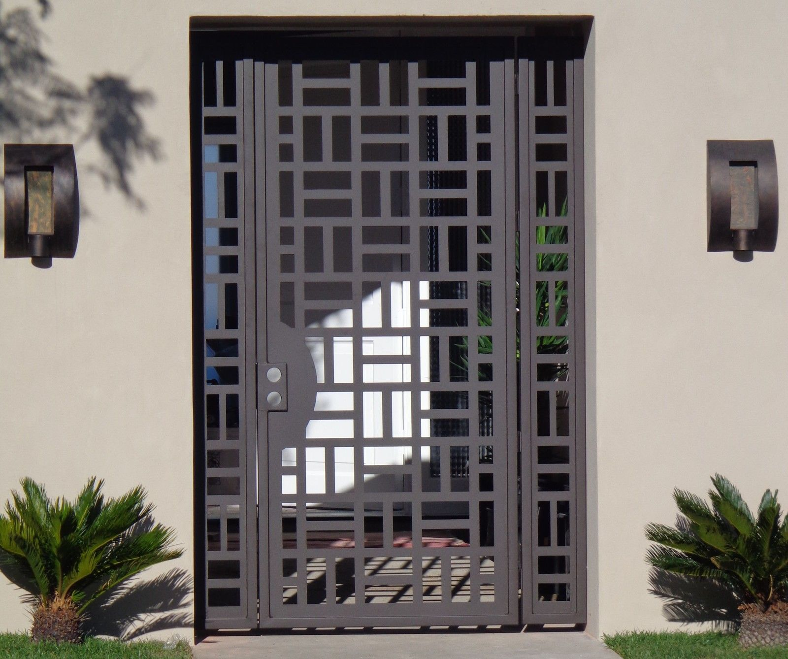 Buy A Hand Crafted Custom Contemporary Metal Entry Gate Panels Steel Iron Walk Thru Garden Made