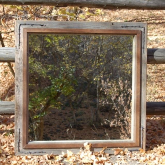 western mirror barnwood with alder overlay and barbed wire by - My Barnwood Frames