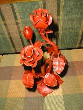 Custom Made Hand Forged Base And Rose Bouquet)
