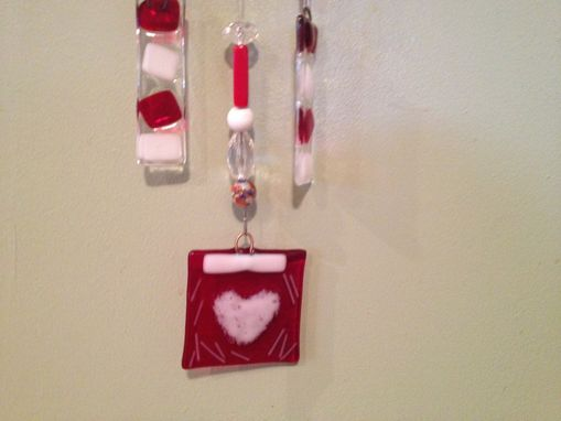 Custom Made Fused Glass Sun Catcher Or Light Catcher Red With White Heart