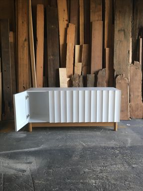 Custom Made Modern Credenza Media Unit With Hand Cut Fluted Doors