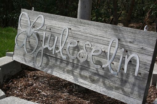 Custom Made Custom Recycled Steel And Reclaimed Eucalyptus Signage