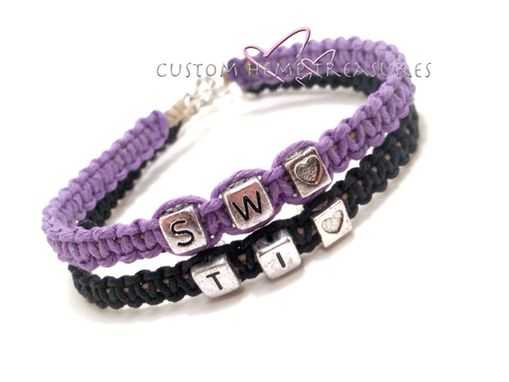 Custom Made Initials Couples Bracelets With Hearts