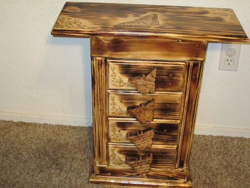 Custom Made Butterfly Themed Three Drawer End Table